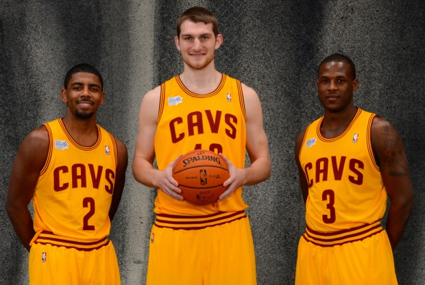 Kyrie Irving, Tyler Zeller y Dion Waiters./ Getty Images
