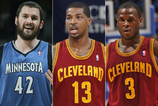 Kevin Love, Tristan Thompson, Dion Waiters./ Getty Images
