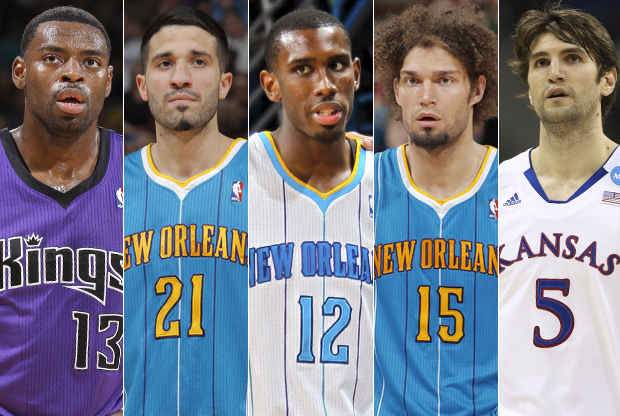 Tyreke Evans, Greivis Vásquez, Terrel Harris, Robin Lopez y Jeff Withey./ Getty Images