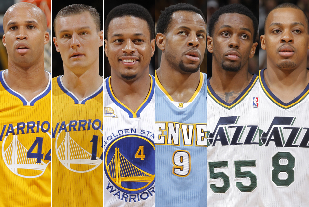 Richard Jefferson, Andris Biedrins, Brandon Rush, Andre Iguodala, Kevin Murphy y Randy Foye./ Getty Images