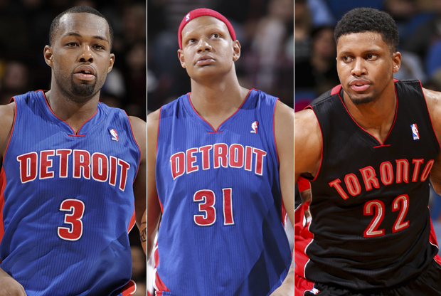 Rodney Stuckey, Charlie Villanueva y Rudy Gay./ Getty Images