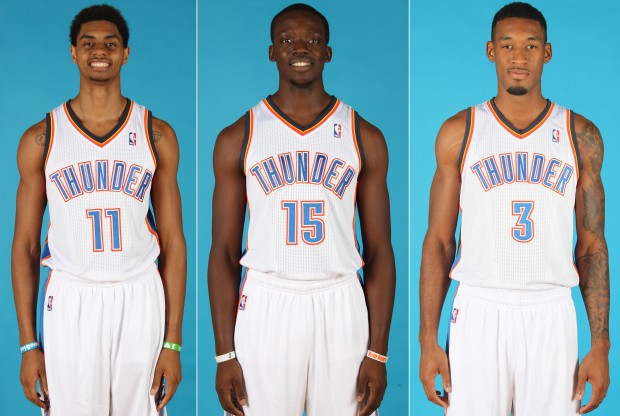 Jeremy Lamb, Reggie Jackson y Perry Jones./ Getty Images