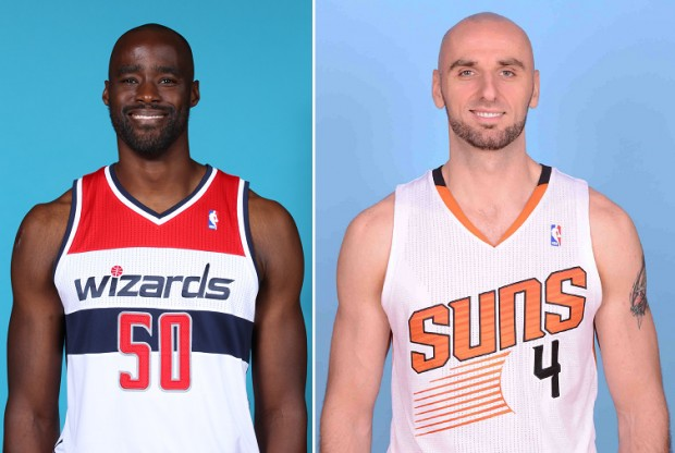 Emeka Okafor y Marcin Gortat./ Getty Images