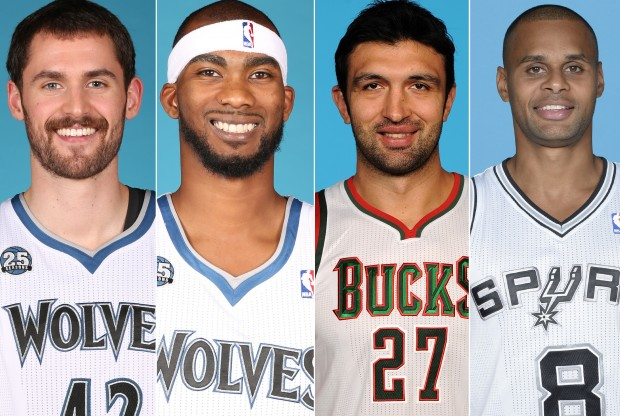 Kevin Love, Corey Brewer, Zaza Pachulia y Patty Mills./ Getty Images