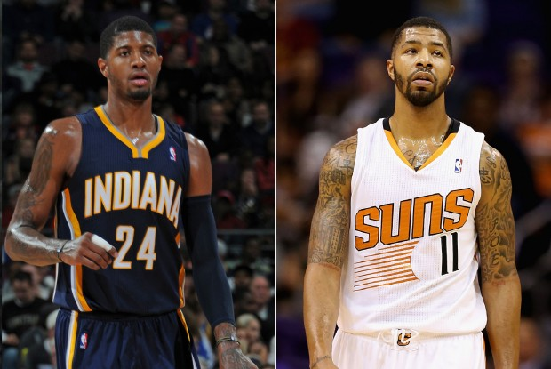 Paul George y Markieff Morris./ Getty Images
