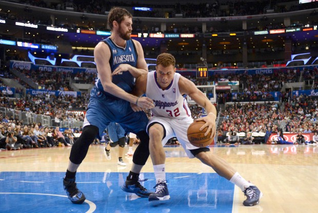 Kevin Love vs. Blake Griffin./ Getty Images