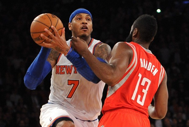 Carmelo Anthony y James Harden./ Getty Images