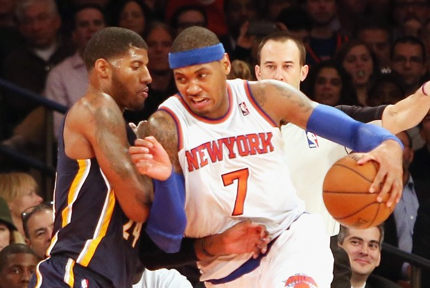 Paul george vs. Carmelo Anthony./ Getty Images