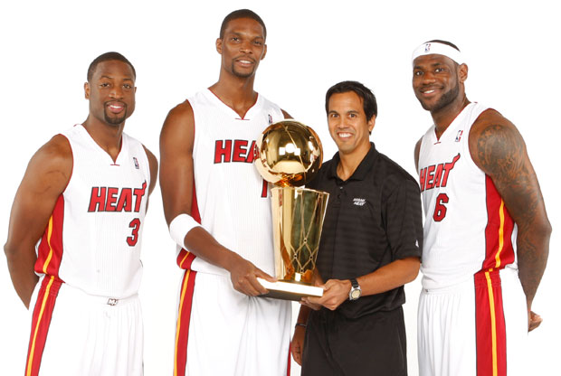 Wade, Bosh, Spoelstra y James / Getty Images