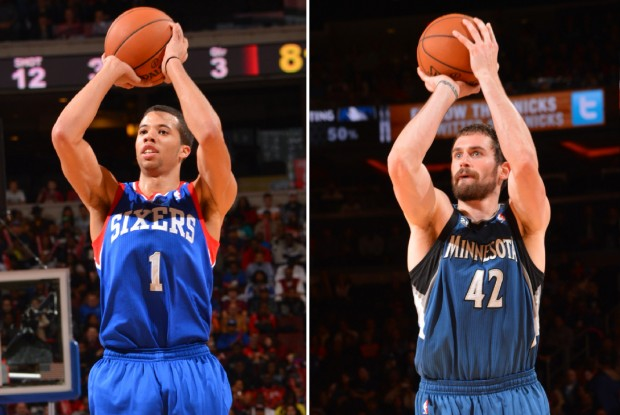 Michael Carter-Williams y Kevin Love./ Getty Images