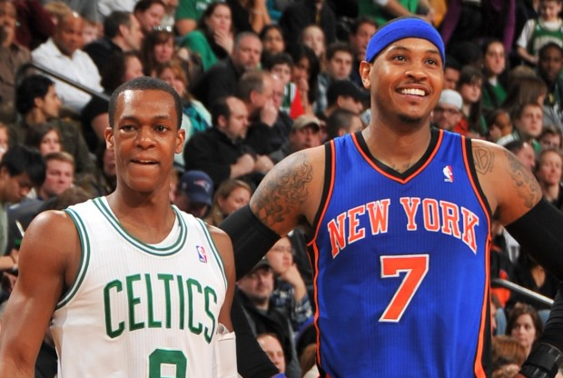 Rajon Rondo y Carmelo Anthony./ Getty Images