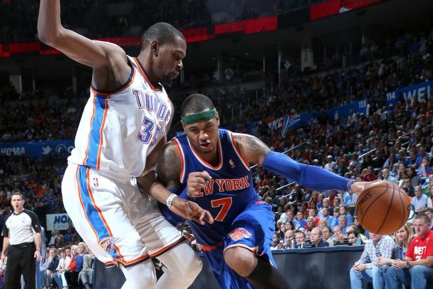 Kevin Durant y Carmelo Anthony./ Getty Images