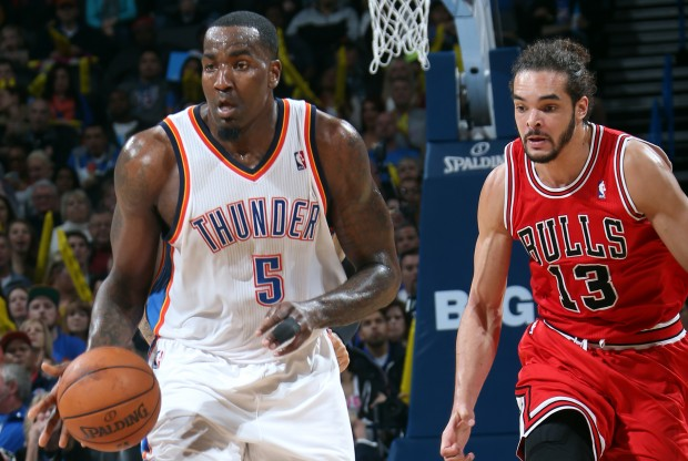 Kendrick Perkins y Joakim Noah./ Getty Images