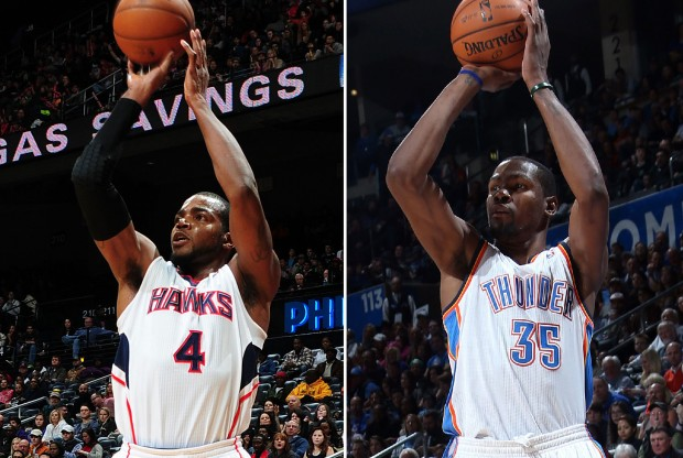 Paul Millsap y Kevin Durant./ Getty Images