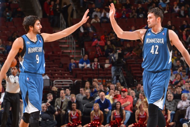 Ricky Rubio y Kevin Love./ Getty Images