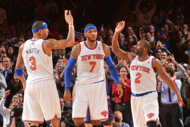 Kenyon Martin, Carmelo Anthony y Raymond Felton./ Getty Images
