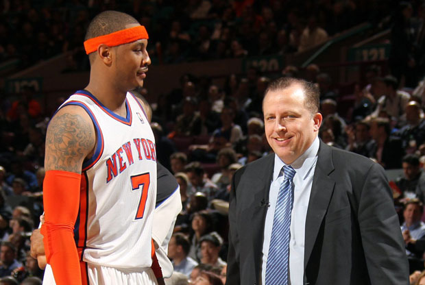 Carmelo Anthony y Tom Thibodeau / Getty Images