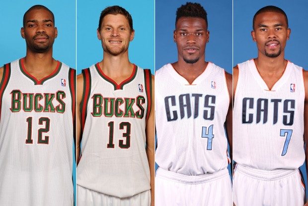 Gary Neal, Luke Ridnour, Jeff Adrien y Ramon Sessions./ Getty Images