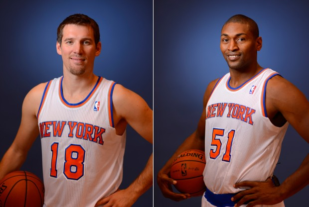 Beno Udrih y Metta World Peace./ Getty Images