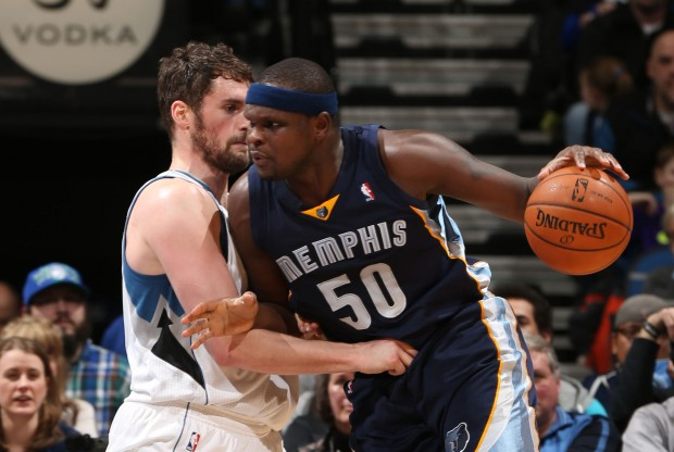 Zach Randolph vs. Kevin Love./ Getty Images