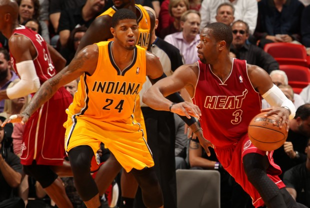 Dwyane Wade vs. Paul George./ Getty Images