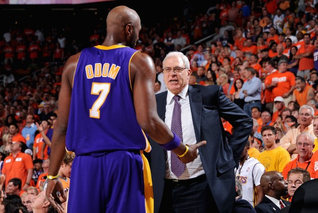 Lamar Odom y Phil Jackson./ Getty Images