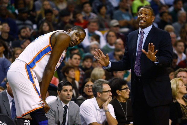 Kevin Durant y Doc Rivers./ Getty Images