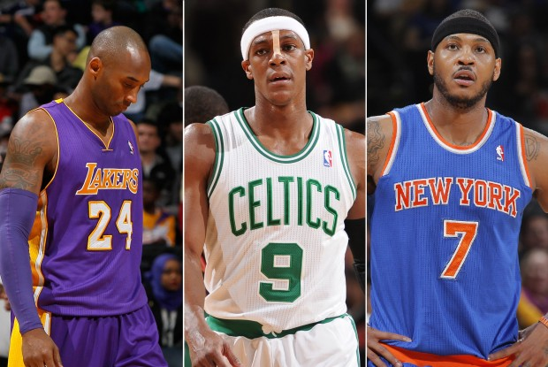 Kobe Bryant, Rajon Rondo y Carmelo Anthony./ Getty Images