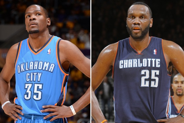 Kevin Durant y Al Jefferson./ Getty Images