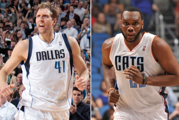 Dirk Nowitzki y Al Jefferson./ Getty Images