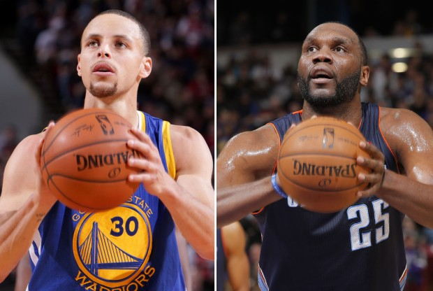Stephen Curry y Al Jefferson./ Getty Images