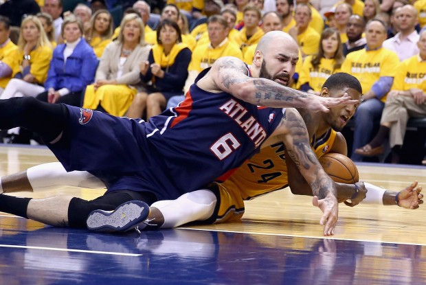 Pero Antic y Paul George./ Getty Images