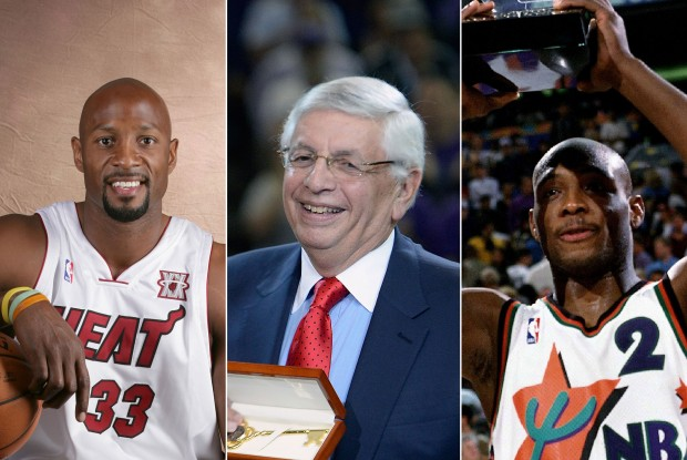 Alonzo Mourning, David Stern y Mitch Richmond./ Getty Images