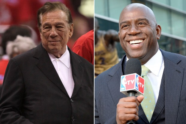 Donald Sterling y Magic Johnson./ Getty Images