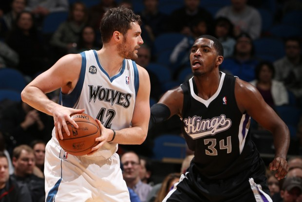 Kevin Love y Jason Thonpson./ Getty Images