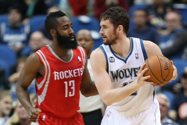 James Harden y Kevin Love./ Getty Images