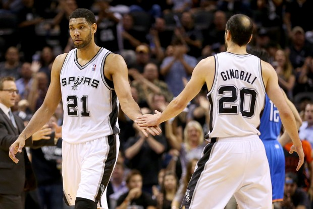 Tim Duncan y Manu Ginobili./ Getty Images