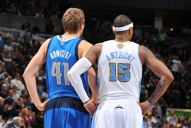 Dirk Nowtizki, Carmelo Anthony / Getty Images