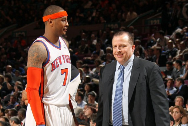 Carmelo Anthony y Tom Thibodeau./ Getty Images