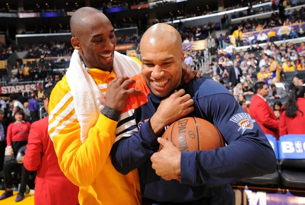 Kobe Bryant y Derek Fisher./ Getty Images