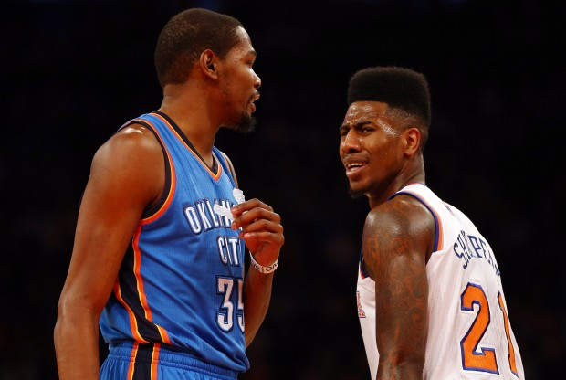 Kevin Durant e Iman Shumpert./ Getty Images