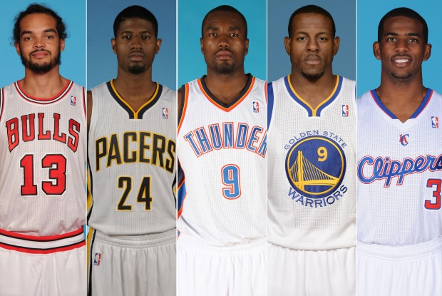 Joakim Noah, Paul George, Serge Ibaka, Andre Iguodala y Chris PAul./ Getty Images