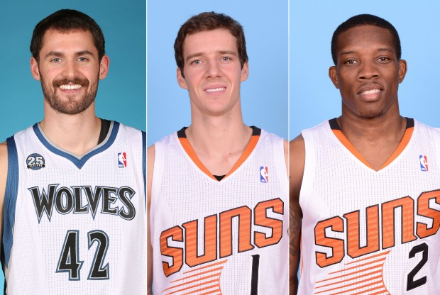 Kevin Love, Goran Dragic y Eric Bledsoe./ Getty Images