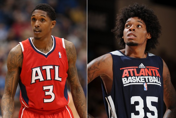Lou Williams y Lucas Nogueira./ Getty Images