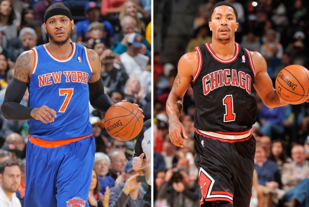 Carmelo Anthony y Derrick Rose./ Getty Images