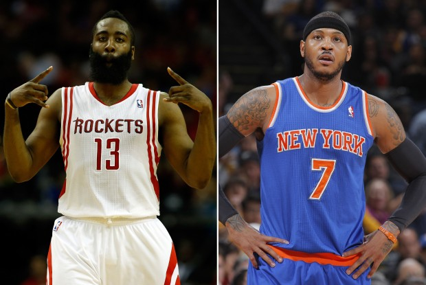 James Harden y Carmelo Anthony./ Getty Images
