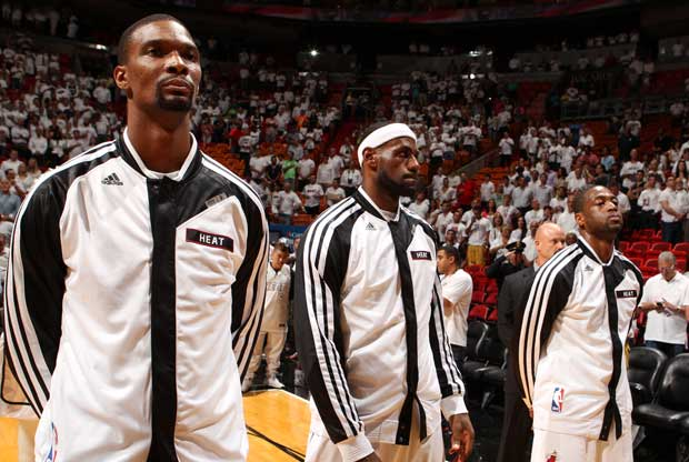 Chris Bosh, LeBron James, Dwayne Wade / Getty Images