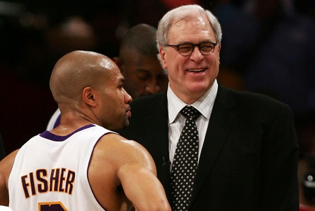 Derek Fisher y Phil Jackson./ Getty Images
