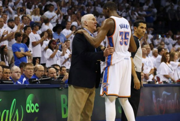 Gregg Popovich y Kevin Durant./ Getty Images