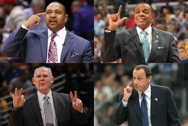 Mark Jackson, Lionel Hollins, George Karl y Ettore Messina / Getty Images